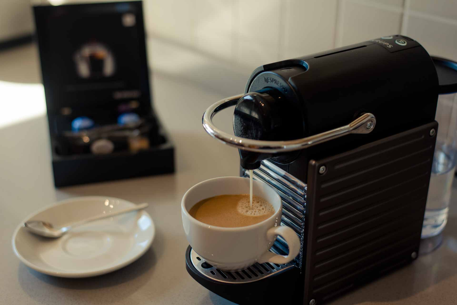 Nespresso machine in the kitchen of PREMIER SUITES PLUS Glasgow George Square