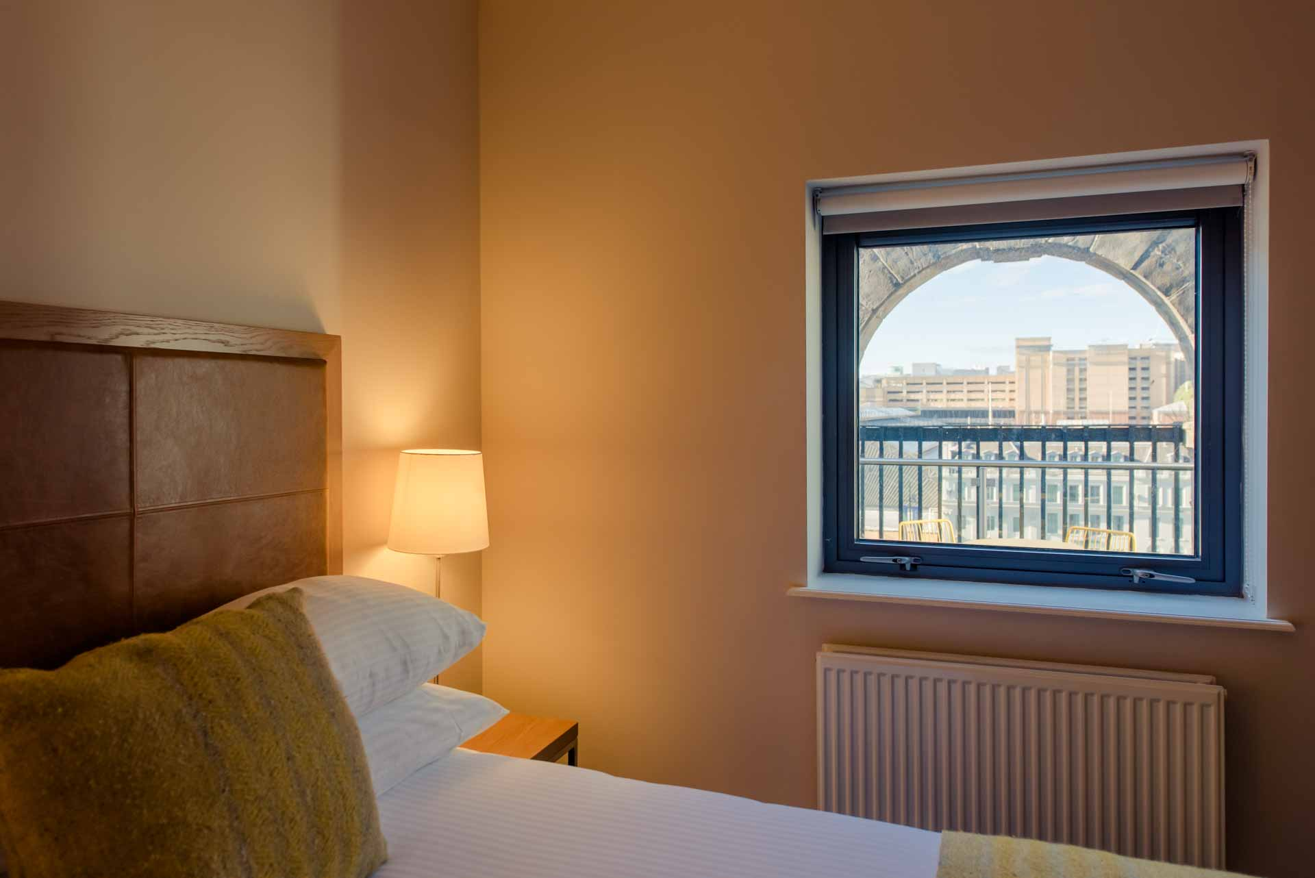 Penthouse bedroom window views PREMIER SUITES PLUS Glasgow George Square