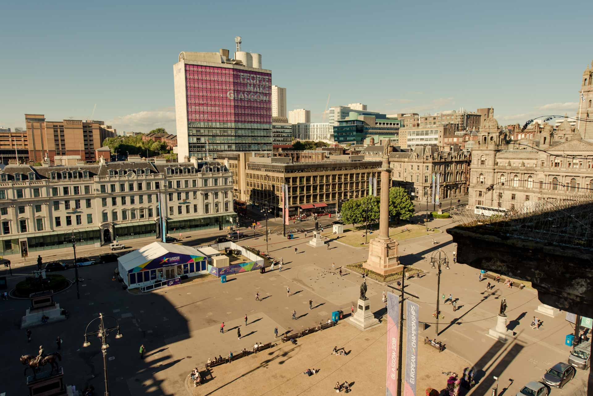 George Square from penthouse of PREMIER SUITES PLUS Glasgow George Square